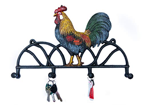 Rooster Chicken Wall Hooks, Cast Iron. for Hanging Your Coat or as Key Rack.