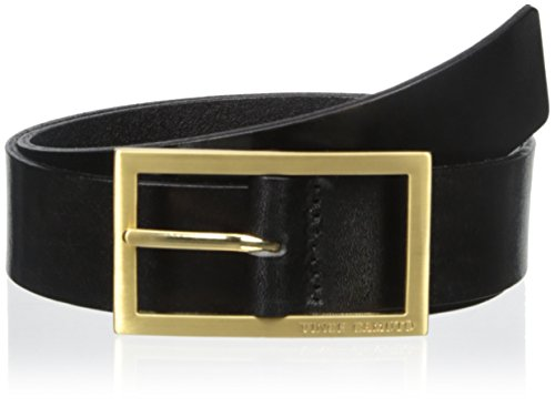Vince Camuto Women's Leather Belt with Logo Buckle, Black, Medium
