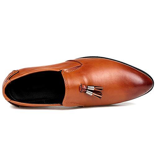 de Moda y 40 Amarillo Zapatos borlas Puntiagudos Hombre con Chic cómodos Oxford Negro Jusheng Casual EU para Oxford Color tamaño wqBtEt