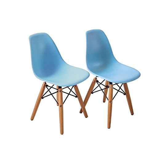 Buschman Set of Two Blue Eames-Style Kids Dining Room Mid Century Chair Wooden Legs Armless Chairs