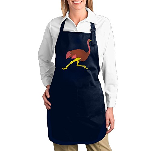 Meat Dress Costume Diy (Dogquxio Cartoon Ostrich Kitchen Helper Professional Bib Apron With 2 Pockets For Women Men Adults Navy)