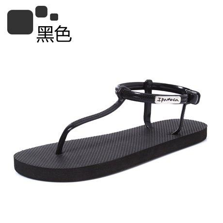 Xing Lin Sandalias De Mujer Espesor Inferior Antideslizante T Palabra Tendencia De Estudiantes En Roma Un Fondo Blando Zapatos Son Todos-Match Sandalias black