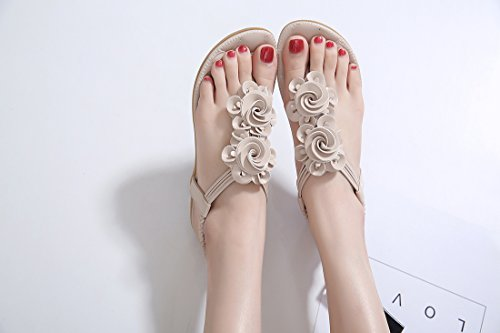 Ruiren Women Bohemian Flower Flat Sandals,Summer Flip-Flops Shoes for Ladies apricot