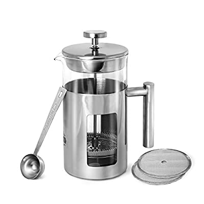 Rodolffo Quality French Press Coffee Maker 34oz with Stainless Steel 18/8 includes Borosilicate Glass Cup & Stainless Steel Strainer. Creates Exceptional Taste & Purity. Enjoy Perfect Coffee