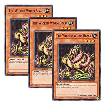 š 3 Pieces Set š Yugiohi English Version GLD4-EN003 The Wicked Worm Beast Evil Worm _ Beast (Normal) Limited Edition