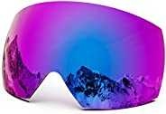 MAXJULI Ski Goggles Men Women with Cover,OTG Snow Goggles with Magnetic Interchangeable Anti-Fog HD Lens UV Pr