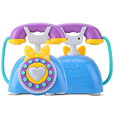 Garosa Simulation Kid Telephone Toy Bilingual Smart Phone with Lights & Music Kids Toys Cute Phone Pretend Play Toys Children Baby for Learning Education Girls Birthday Gift( Blue): Toys & Games