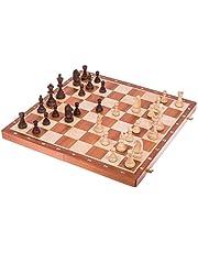 SQUARE - Pro Schack No. 6 MAHOGNY – Schackspel - Schackfigurer och schackbräde av trä