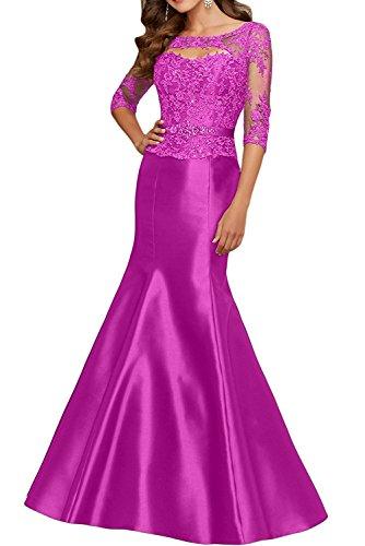 Kleid Braut Langarm Abendkleider Lila Festlichkleider Damen Promkleider Brautmutterkleider mia Pink Trumpet Spitze Meerjungfrau La WanqBf7gwI
