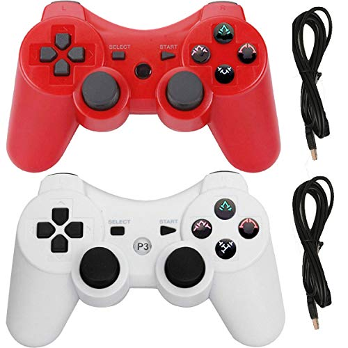Molgegk Wireless Controllers for PS3 Playstation 3 Dualshock Six-axis,Bluetooth Remote Gaming Gamepad Joystick Includes USB Cable (White and Red, Pack of 2)
