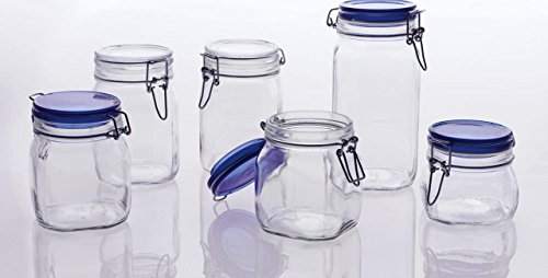 Bormioli Rocco Fido Square Glass Canning Jar with Blue Lid, 0.5 Liter (Pack of 2) by Bormioli Rocco (Image #3)