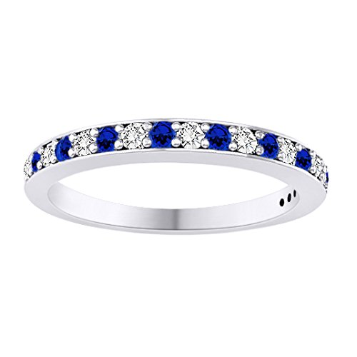 10K White Gold Sim. Blue Sapphire & 0.11 Ct Diamond Half Eternity Wedding Band -