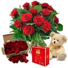 Florclick Ramo Rosas - Pétalos - Bombones - Peluche - Ramo de flores naturales en 24 horas y envío GRATIS
