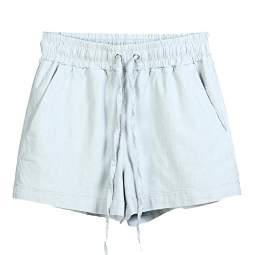(JOFOW Womens Shorts Solid Cotton Linen Drawstring Tie Strappy Loose A Line Straight Leg Casual Beach Mini Pants Summer (3XL,Light Gray))