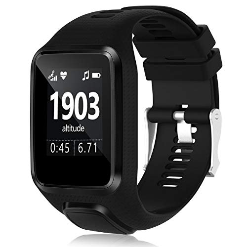 Humenn Band Compatible with Tomtom Runner 2/3 Series,Spark 3,Golfer 2,Adventurer - Silicone Replacement Runner Watchband Watch Strap for Women Men (1,Black) (For Watches Runners Best)