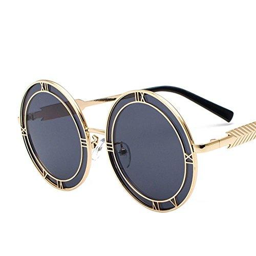 Aoligei Decrits lunettes rondes verres visage rond rétro européens et américains de personnalité lunettes de soleil alphabet KqUOS6sd