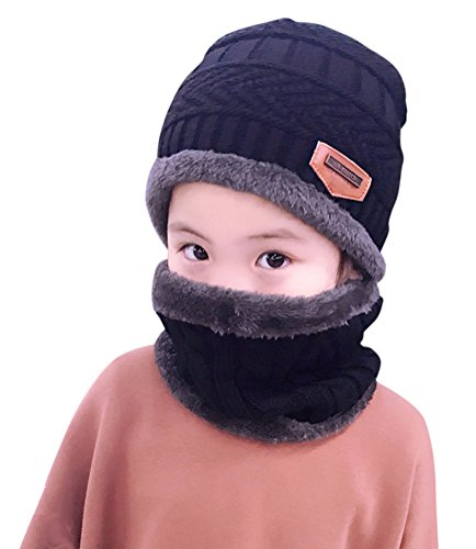 Winter Beanie Scarf for Boys Girls (5-14 Years) Warm Snow Knit Hats Windproof HINDAWI Circle Scarf Kids Slouchy Skull Cap Black