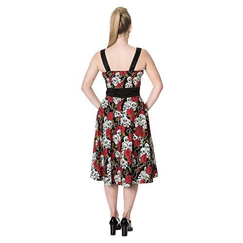 Vestido color negro con diseño de calavera y rosas rojas pin-up y satén estilo años 50 negro