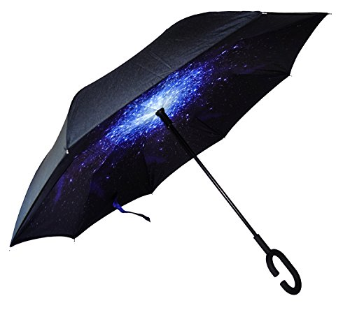 Inverted Umbrella by Mrlifehack - Reverse Folding Inside Out Umbrella - Keeps Your Clothes, Car, and Home Dry - 100 % Windproof Double Layer - With Auto Open & Hands Free Handle