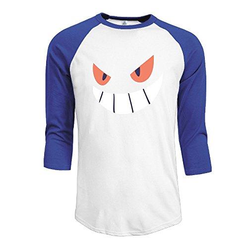 Gengar Halloween Face Men's Contrast Raglan Baseball Shirt -