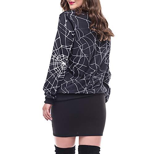 BOLUOYI Hoodie Dress for Women Lightweight,Women's Accessories,Womens Scary Halloween Spider Web 3D Print Party Long Sleeves Top Sweatshirt,Black,L]()