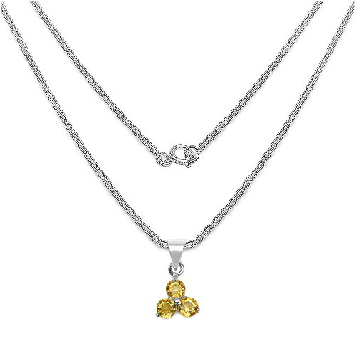 Silvancé - Women's Pendant Necklace 925 Sterling Silver Genuine Citrine - P340C