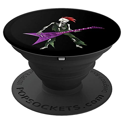 Goth Skeleton Rock Guitar Lover Punk Grunge Heavy Metal - PopSockets Grip and Stand for Phones and Tablets -