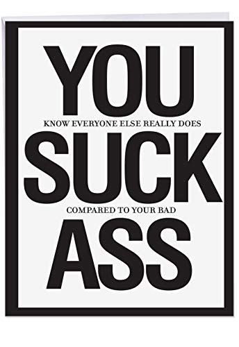 Congratulations Greeting Card w/ Envelope - Congrats You Suck A$$ Card - Funny Celebration Stationery 8.5 x 11 Inch J8682 ()