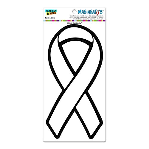 White Awareness Support Ribbon Lung Cancer MAG-NEATO'S(TM) Automotive Car Refrigerator Locker Vinyl Magnet