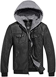 Wantdo Men's Stylish Removable Hood Faux Leather Ja
