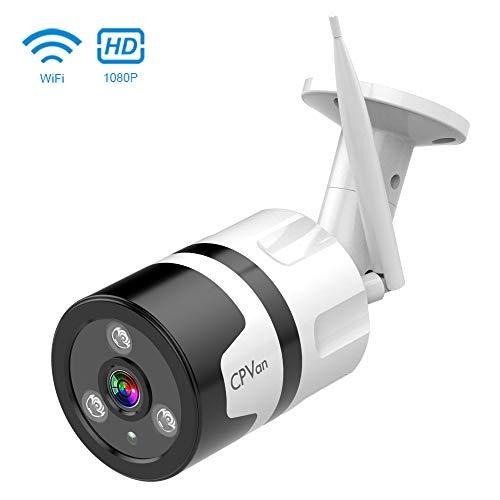 CPVAN OutdoorSecurity Camera, 1080P WiFi Bullet Surveillance IPCameraSystem WirelessWaterproofHome SecuritySmart Camerawith 2 Way Audio, Cloud Storage Night Vision Camera forFront DoorOffice