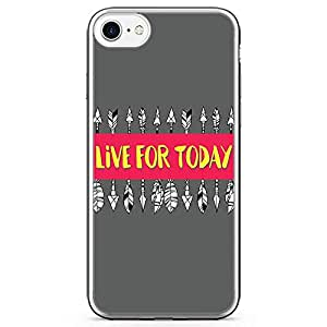 iPhone 8 Transparent Edge Phone case Live For Today Phone Case Inspirational Phone Case Boho iPhone 8 Cover with Transparent Bumper