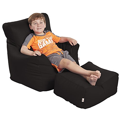 ECR4Kids Bean Bag Chair and Ottoman Set, Black For Sale
