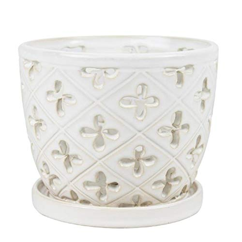 8 in. Orchid Pot with Saucer White