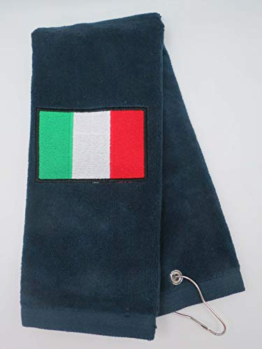 Mana Trading Custom Personalized Embroidered Golf Towel Italian Flag (Navy Blue)