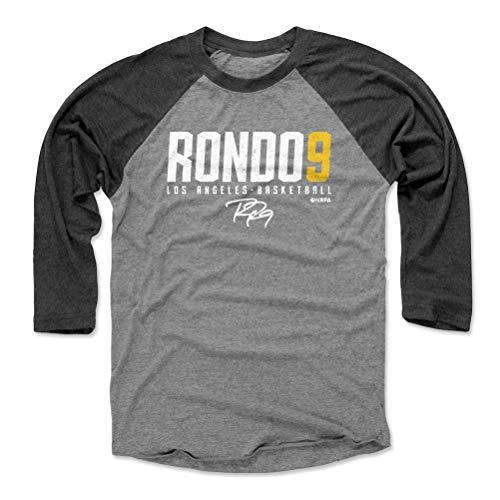 (500 LEVEL Rajon Rondo Baseball Tee Shirt (Large, Black/Heather Gray) - Los Angeles Basketball Raglan Tee - Rajon Rondo Elite Y WHT)