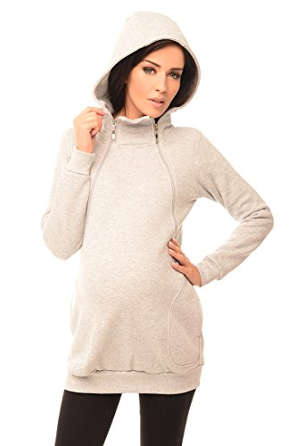 Purpless Maternity 2in1 Pregnancy and Discreet Nursing Hoodie with Zips 9052 (6, Light Gray Melange)