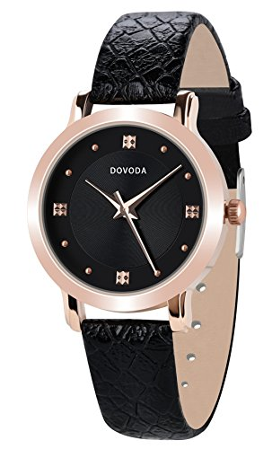 Women Gold Dial Leather Strap Watch Black - 1