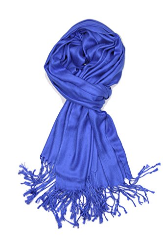 Achillea Large Soft Silky Pashmina Shawl Wrap Scarf in Solid Colors (Royal Blue)
