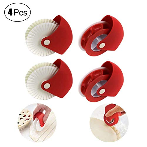 - 4PCS Pastry Wheel Decorator and Cutter Beautiful Pie Crust, Lattice Cutter, Plastic Wheel Roller for Pizza, Cake, Biscuits, Household, Restaurant Pizza Kitchen Baking Tool