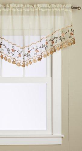 Editex Textiles para el hogar jardín de rosas cenefa, 60por 66cm, crudo/dorado