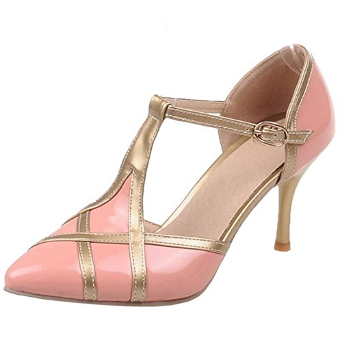 COOLCEPT Zapatos Mujer Verano Moda Multi Color Hebilla Al Tobillo Tacon Alto Bombas Zapatos Sandalias Rosado