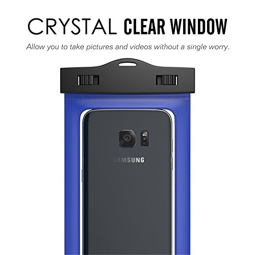 Universal Waterproof Case, GreenElec Cell Phone Dry Bags Pouch for iPhone 4s 5s 6s plus, Samsung Galaxy Note S4 S5 S6 S7 Edge, HTC LG Sony Nokia Motorola, Wallet. and up to 5.7 Inch diagonal (Blue)