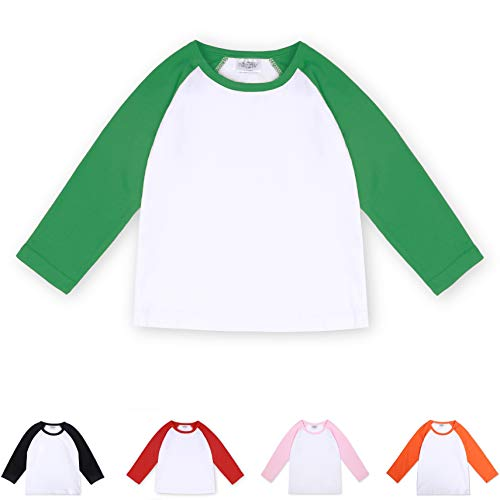 (CloudCreator Toddler Baby Girls Boys Long Sleeve Shirts Raglan Shirt Baseball Tee Cotton T-Shirt Green)