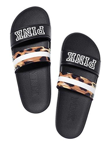 (Victorias Secret Pink Sport Double Strap Slides Black Leopard Print Medium 7/8)