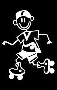 Familien Autoaufkleber: Junge auf Rollerblades (Wei§)