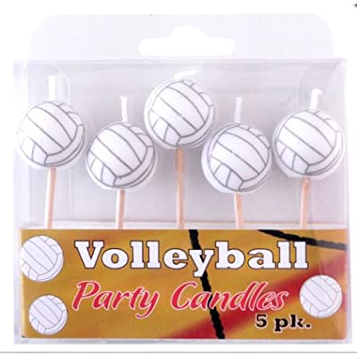 Volleyball Birthday Candles (5 Pack, Spherical Volleyballs on Picks) Volleyball Side Out Party Collection by Havercamp : Sports & Outdoors
