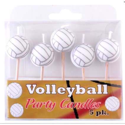 Volleyball Birthday Candles (5 Pack, Spherical Balls on Picks) Volleyball Party Collection by Havercamp