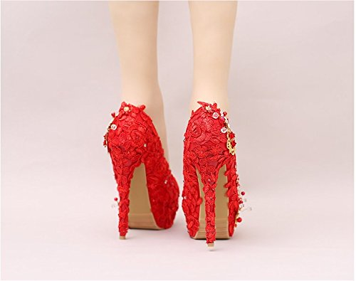 High Sandals 14Cm Shoes Prom Lace Pumps Diamond High Wedding Heel VIVIOO Heeled 5 Head Women's Pearl Heel Fine Red Bride Butterfly Flower Round Waterproof Super nBwYX5xq