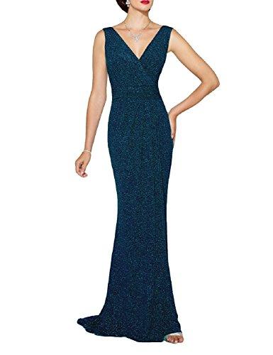 Favors Women's Elegant V Neck Mermaid Evening Dress Sequin Formal Gown Jade 4